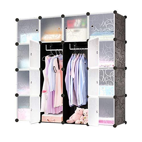 Hengda 16 Würfel DIY Regalsystem Kleiderschrank aus Kunststoff mit Türen stabil und einfach zu montieren, Steckregal für Kleidung Spielzeug Kinderzimmer Aufbewahrung Badregale-Schwarz