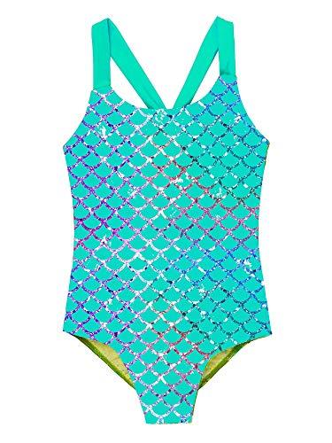 TiaoBug Mädchen Meerjungfrau Badeanzug Bikini Schwimmanzug EIN-Schulter mit Rüschen Kinder Bademode Beachwear 80 92 98 104 110 116 122 128 Türkis 122-128