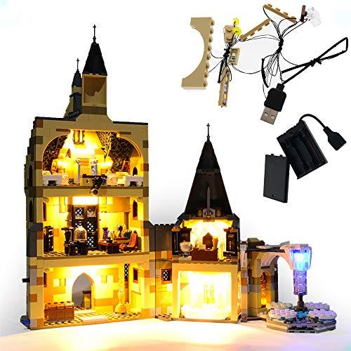 GEAMENT Juego de luces para Harry Potter Hogwarts, torre de reloj, bloques de construcción, modelo compatible con Lego 75948 (juego de Lego no incluido)