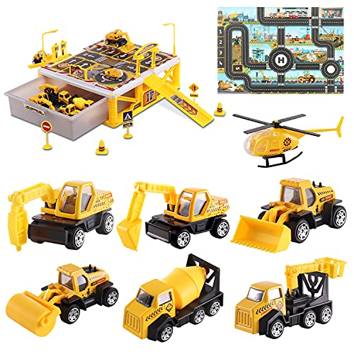 Construction Truck Toys for 1 2 3 4 5 6 Year Old Boys,9-in-1 Car Toys with Play Mat,Good for 3+ Year Old Boy Birthday Gift