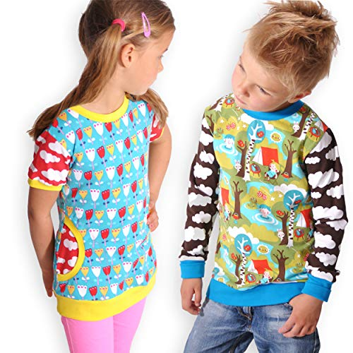 leni pepunkt Schnittmuster Kinder Shirt Langarmshirt in den Größen 50/56-158/164 zum Nähen mit Kurzanleitung und 5 Webetiketten