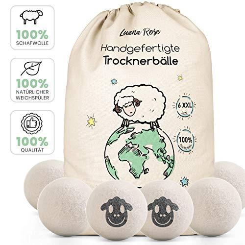 Trocknerbälle für Wäschetrockner - Der Natürliche Weichspüler aus 100% Schafwolle - [6x] XXL Trockner Bälle für Daunenjacken aus Wolle - Wäschetrockner Bälle Trocknerkugeln - Trocknerball Daunen