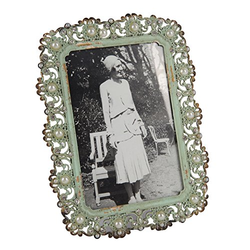 NIKKY HOME Decorative Vintage Metal Pearl 4 by 6 Inch Jeweled Photo Frame Antique Green