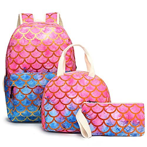 YIMENLR Kids School Bag with Lunch Box Pen Case Girls, Mermaid School Backpack Children's Meal Bag Pencil Case Set