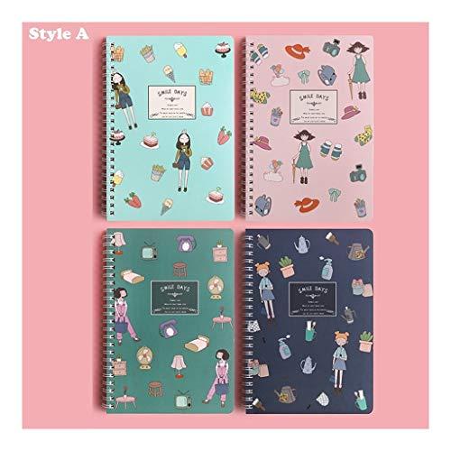 WPBOY Cuaderno de 4 unidades, con espiral, de color pastel, cuadernos escolares, exquisitos y sencillos, para estudiantes universitarios (color: estilo A)