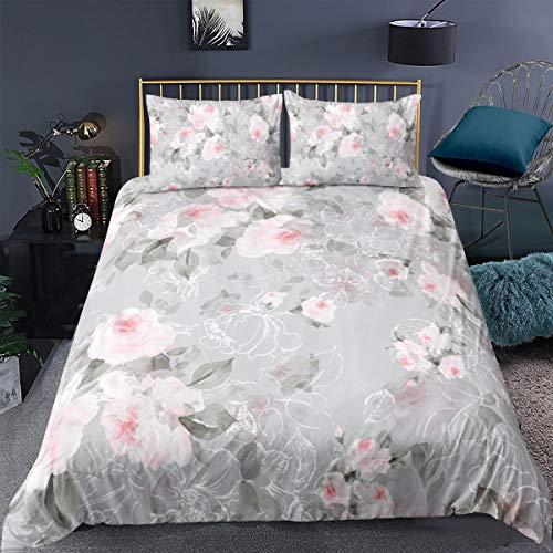 Funda de edredón Floral para niñas Flores botánicas, Crema,Verde pálido,Rosa,King,Cierre