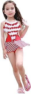 Kaiunchan キッズ 子供 水着 ワンピース 女の子 フリル スカート ボーダー フラワー 花柄 造花2色
