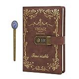 Diario de piel sintética de tamaño A5 con bloqueo de combinación, cubierta suave con contraseña, cuaderno de viaje con ranura para bolígrafo y tarjeta (con ranura para tarjetas), color marrón