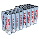Tenergy High Drain AA and AAA Battery, 1.2V Rechargeable NiMH Batteries Combo, 12-Pack 2500mAh AA Cells and 12-Pack 1000mAH AAA Cell Batteries