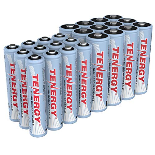 Tenergy High Drain AA and AAA Battery 12V Rechargeable NiMH Batteries Combo 12Pack 2500mAh AA Cells and 12Pack 1000mAH AAA Cell Batteries