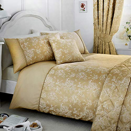 Serene - Jasmine - Easy Care Duvet Cover Set | Double Bed Size | Champagne Gold Bedding