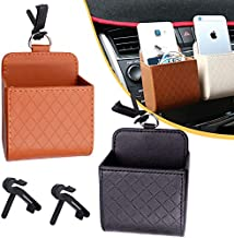 Asionper Car Air Vent Storage Bag with Dedicated Hook High Capacity Car Leather Storage Basket unglass Holder Car Mount for Keys Coin Cell Phone Glasses Card Case Organizer