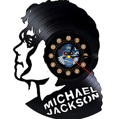 TeenieArt Disco De Vinilo Reloj De Pared Diseño Moderno Tema Musical Pop King Michael Jackson Relojes Reloj De Pared Decoración del Hogar Regalo para Hombre con Led