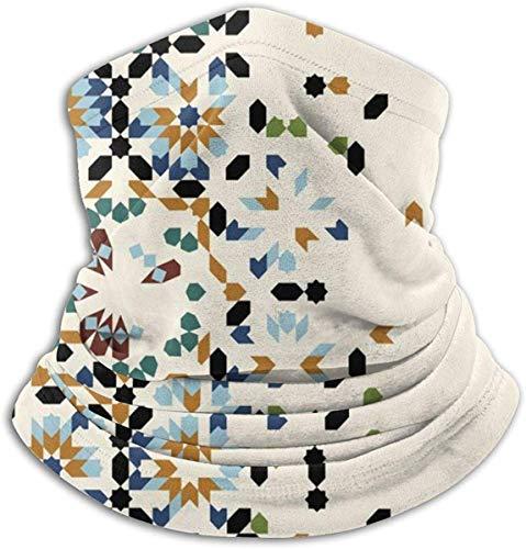 Zjipeung Vorlage mit Marokko Ornament. Fleece Nackenwärmer für Männer Frauen Winddicht Nackenschutz Winter Outdoor Headwear Unisex Ski Gesichtsmaske Sturmhaube Halbmaske Motorrad Gesicht Schal