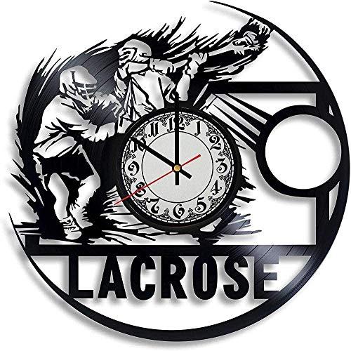 jjyyy Lacrosse Training Lacrosse Reloj de Pared de Vinilo Decorativo para Hombre