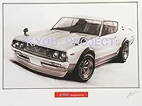 【 名車 ・ 旧車 イラスト 】日産 ケンメリ 2ドア GT-R A4額縁・作者直筆サイン入り ノスタルジックカー 鉛筆画(原画コピー)