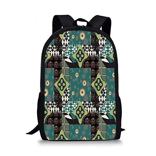 AOOEDM Backpack Mochila Escolar con Estilo Abstracto, Patchwork artístico con Rayas Minimalistas, patrón de Cultura de Flores Populares orientales, Decorativo para niños, 11