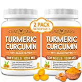 (2 Pack) Turmeric Curcumin Softgels 1200mg with BioPerine 95% Curcuminoids - Joint, Immune Support & Anti-Inflammation| Extra Strength Turmeric Curcumin Complex Antioxidant Supplement | 120 Softgels