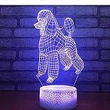 Girls Night Light,Nette Lampe Des Pudel-Hund3D 7 Farben Führten Nachtlampe Noten-Usb-Tabellen-Baby-Schlafendekor-Nachtlicht Für Kindergeschenk