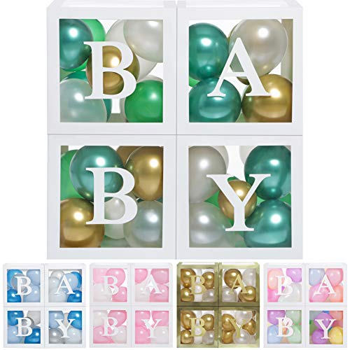 Baby Shower Boxes Party Decorations - 44 pcs, 32 Green Gold White Balloons, 4 Clear & Transparent Blocks, 8 Letters, First Birthday Centerpiece Decor, Boys and Girls Supplies, Gender Reveal Backdrop