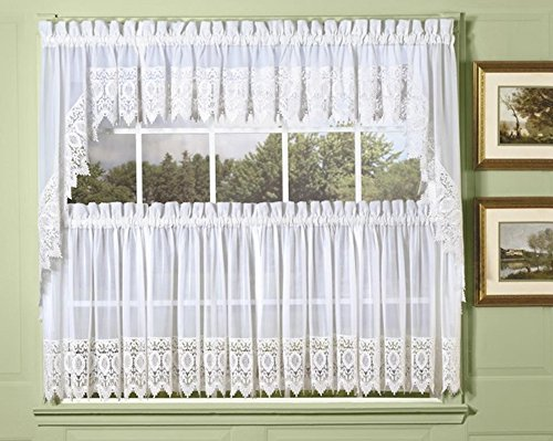 Today's Curtains Diana Macrame Lace Tailored Swag Valance, White 72W x 38L
