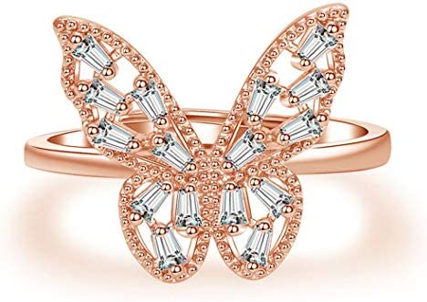 Brishow Women s Statement Ring Rose Gold Butterfly Crystal Eternity Wedding Band Fashion Inset product image