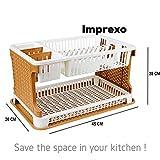 IMPREXO Plastic Kitchen Organizer Sink Dish Drainer Rack (Small, Multicolour, 18.5-inch)