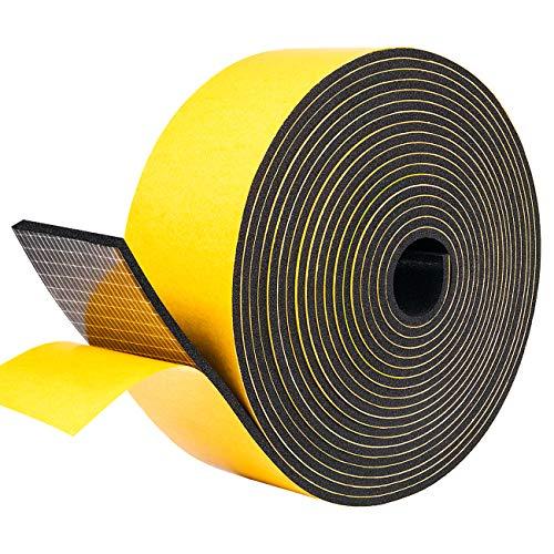 Moosgummi Selbstklebend Dichtungsband 50mm(B) x3mm(D) Türdichtung Schaumstoffband für Fenster Ceranfeld, Kollision Siegel Schalldämmung Gesamtlänge 5M (1 Rollen je 5m lang)