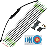140cm (55 inch) Takedown Longbow Archery Set, 12 Fibreglass Arrows, Arm and Finger