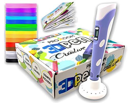 PROXOOM. Penna 3D per bambini, penna 3D con display LCD, regolazione della velocità, compatibile con filamento PLA e ABS, 15 rotoli di filamento.