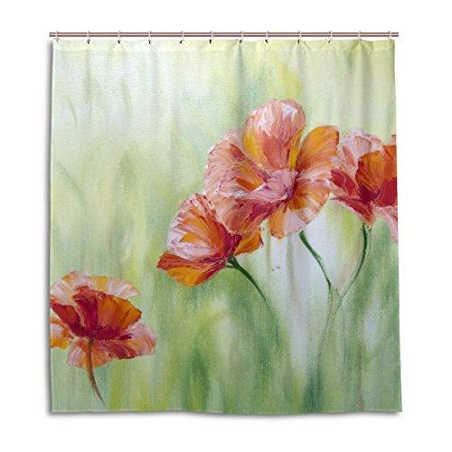 Duschvorhang von Jstel, Motivdruck: Van-Gogh-Sonnenblumen, 100prozent Polyester, 168 cmx 183 cm, mit Kunststoffringen, dekorativer Badewannenvorhang
