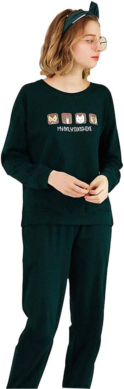 Pajamas Autumn Pajamas Women's Cotton Can wear a TwoPiece Suit Perfect (color   Green, Size   M)