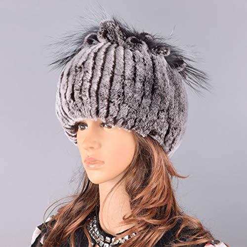Hüte für Frauen Wintermütze Stricken weibliche warme Schneekappen Damen Elegante Prinzessin Mützen Mütze-Coffee-56-59cm