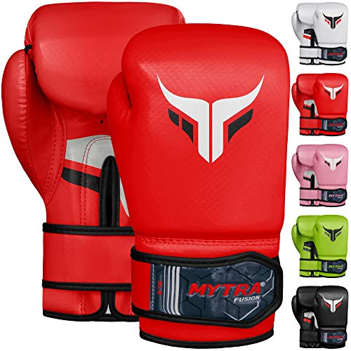 Mytra Fusion Kids Boxing Gloves Carbon AL2 (Red, 8OZ)