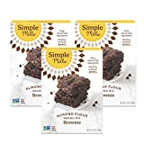 Simple Mills Almond Flour Baking Mix, Gluten Free Brownie Mix, Easy to make in Brownie Pan, Chocolate Flavor, Made with whole foods, 3 Count (Packaging May Vary)