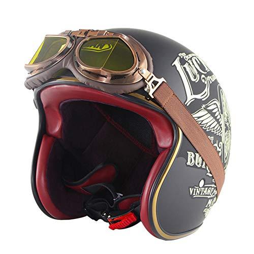 LFTS Retro Open Face Motorradhelme mit Schutzbrille und Sonnenblende DOT-zertifizierter Vintage 3/4 Motorrad Crash Helm Jet Chopper Biker Cruiser Pilotenhelme 6 Styles,Lucky 13,L59cm~60cm