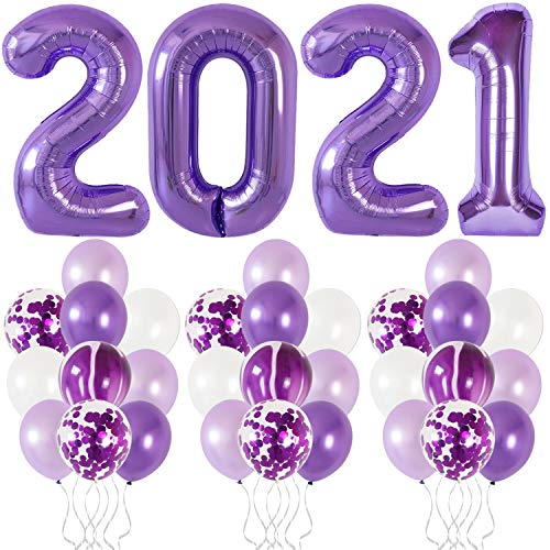 Purple 2021 Balloons Decorations Sets - Purple Confetti, Marble Dark and Light Purple Balloons | New Years Eve Party Supplies 2021 | Purple Graduation Party Supplies 2021 | New Years Eve Decorations
