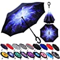 Z ZAMEKA Double Layer Inverted Umbrellas Reverse Folding Umbrella Windproof UV Protection Big Straight Umbrella Inside Out Upside Down for Car Rain Outdoor with C-Shaped Handle (New Starry Sky)