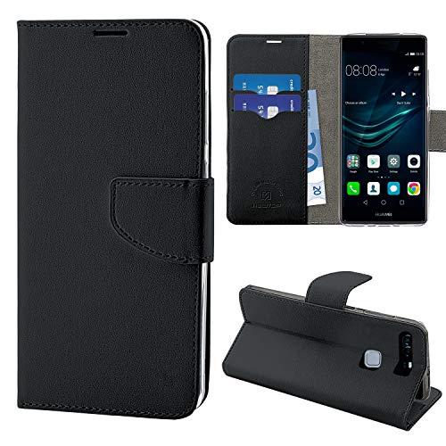 NewTop Cover Compatibile per Huawei P9/Lite/Plus, HQ Lateral Custodia Libro Flip Magnetica Portafoglio Simil Pelle Stand (per P9, Nero)