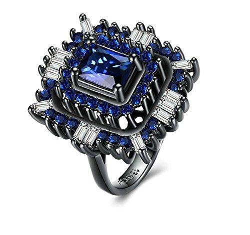 Daesar Ringe für Herren Vergoldet Ringe Quadrat Zirkonia Blau Ringe Gr.60 (19.1)