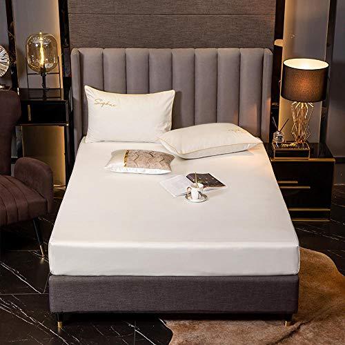 XGguo Protector de colchón de bambú Funda de colchón y Ajustable Sábana de algodón a Prueba de Polvo Elegante White_135 * 200 + 30cm