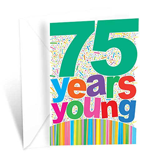 75 Years Young Colorful Birthday Card