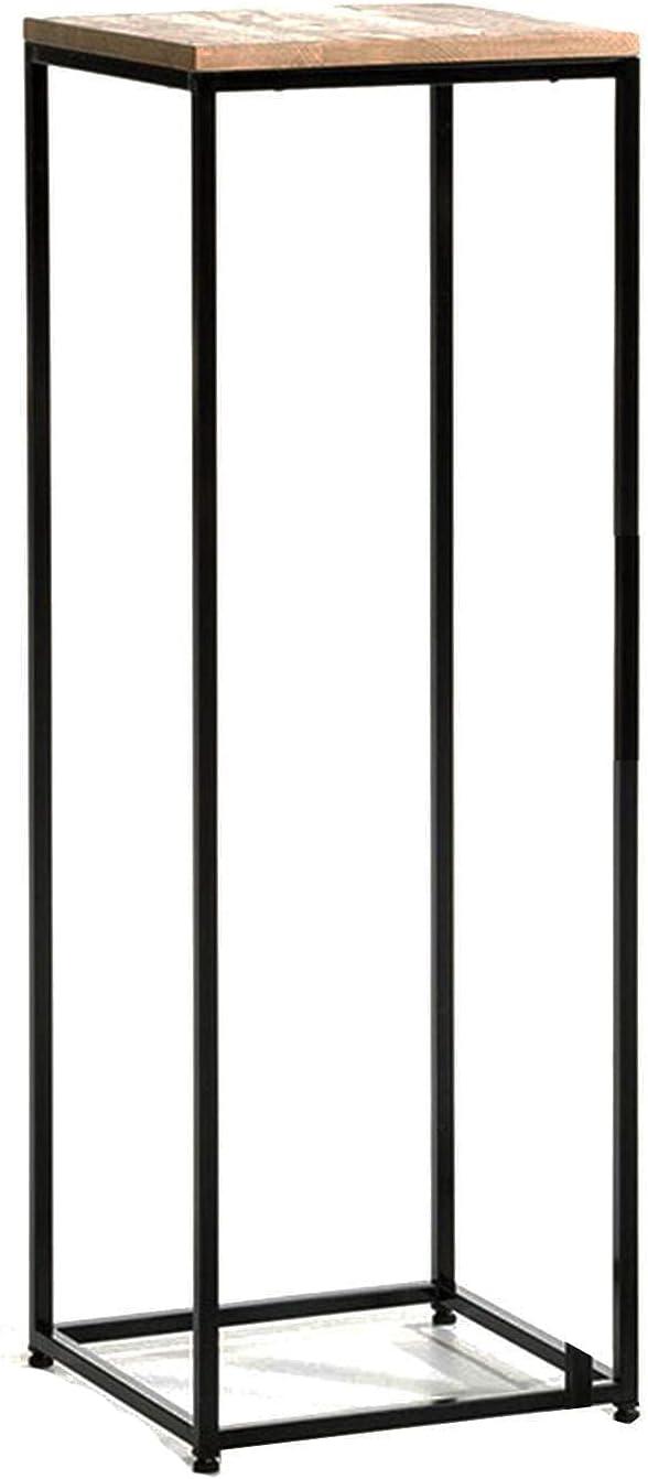 Tabla De Visualización Compacta, Sofá Mesas De Anidación Soporte De Planta De Madera Retro Con Marco De Hierro Negro, Para Pequeño Espacio, Balcón, Tienda De Flores, Jardín(Size:84CM,Color:Negro)