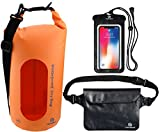 Freegrace Waterproof Dry Bags Set of 3 Dry Bag with 2 Zip Lock Seals & Detachable Shoulder Strap, Waist Pouch & Phone Case - Can Be Submerged Into Water - for Swimming (Orange(Window), 20L)