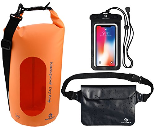Freegrace Waterproof Dry Bags Set of 3 Dry Bag with 2 Zip Lock Seals & Detachable Shoulder Strap, Waist Pouch & Phone Case - Can Be Submerged Into Water - for Swimming (Orange(Window), 5L)