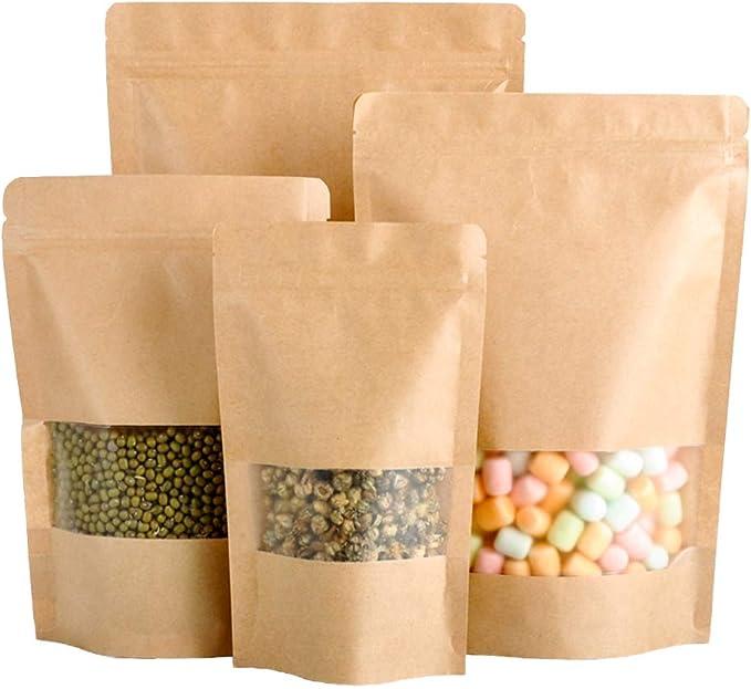 145 opinioni per 50 sacchetti di carta kraft con chiusura a zip, per alimenti, biscotti, bustine