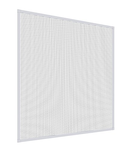 Mosquito Stop Insektenschutz Insektenschutzfenster, Fliegengitter Alurahmen, Spannrahmen-Fenster, individuell kürzbar, weiß, 100 x 120 cm, 23589