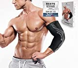 BLACKROX Elbow Bandage Comparison Winner, Tennis Elbow Body Bulding with Compression for Men & Women, Elastic, for Fitness Volleyball, Handball, Strength Sports, Right & Left -