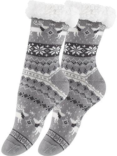 Yenita 2 Paar Hüttensocken mit weichem Innenfell und ABS-Sohle, Warme Winter Socken, grau