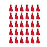 Healifty 30Pcs Mini Nappe Nappe di Seta Fatte a Mano Segnalibro Nappe per Creazione di Gioielli Bomboniere Bomboniere Fai da Te (Rosso)